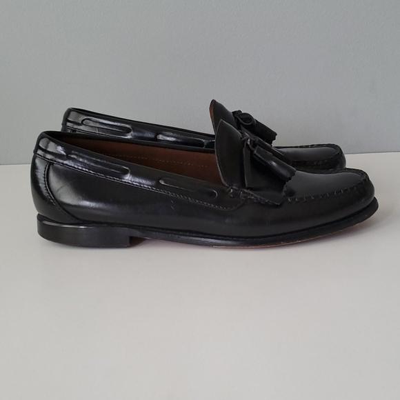 LL Bean Black Leather Tassel Slip On Dress Shoes